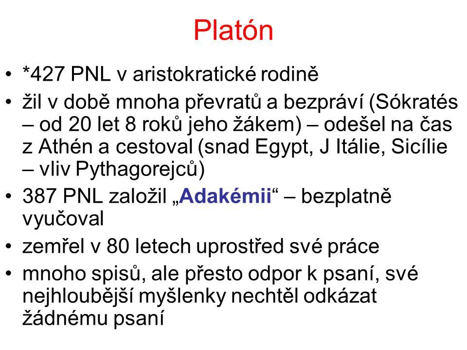 Platón *427 PNL v aristokratické rodině žil v době mnoha převratů a bezpráví (Sókratés – od 20 let 8 roků jeho žákem) – odešel na čas z Athén a cestov