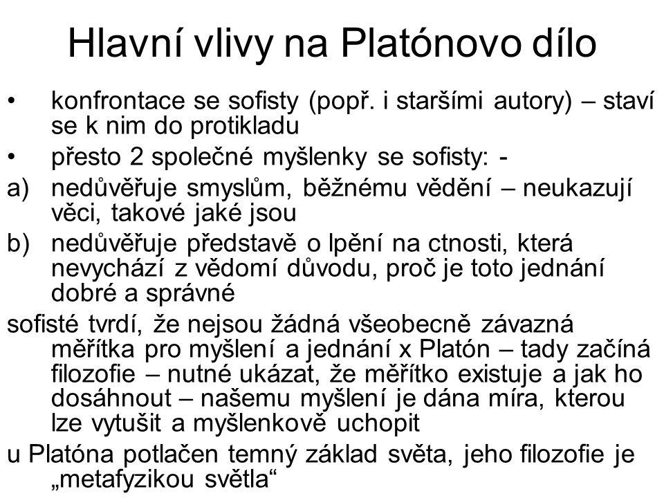 Hlavní vlivy na Platónovo dílo konfrontace se sofisty (popř. i staršími autory) – staví se k nim do protikladu přesto 2 společné myšlenky se sofisty: