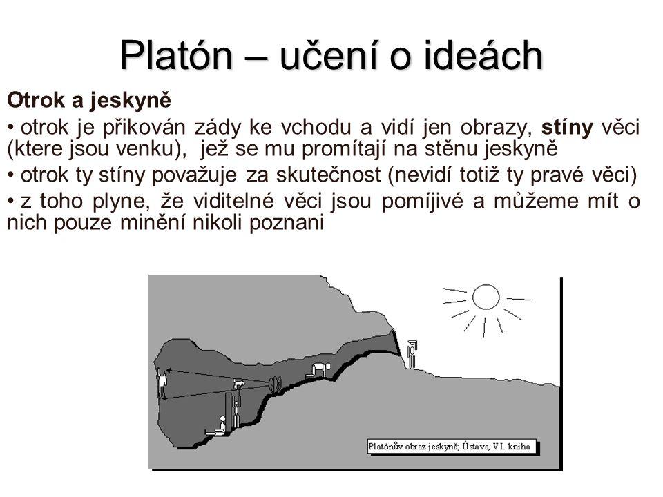 Platón – učení o ideách Otrok a jeskyně otrok je přikován zády ke vchodu a vidí jen obrazy, stíny věci (ktere jsou venku), jež se mu promítají na stěn