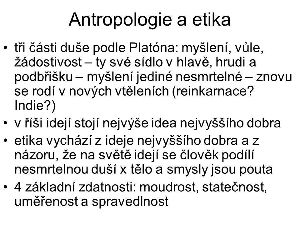 Antropologie a etika tři části duše podle Platóna: myšlení, vůle, žádostivost – ty své sídlo v hlavě, hrudi a podbřišku – myšlení jediné nesmrtelné –