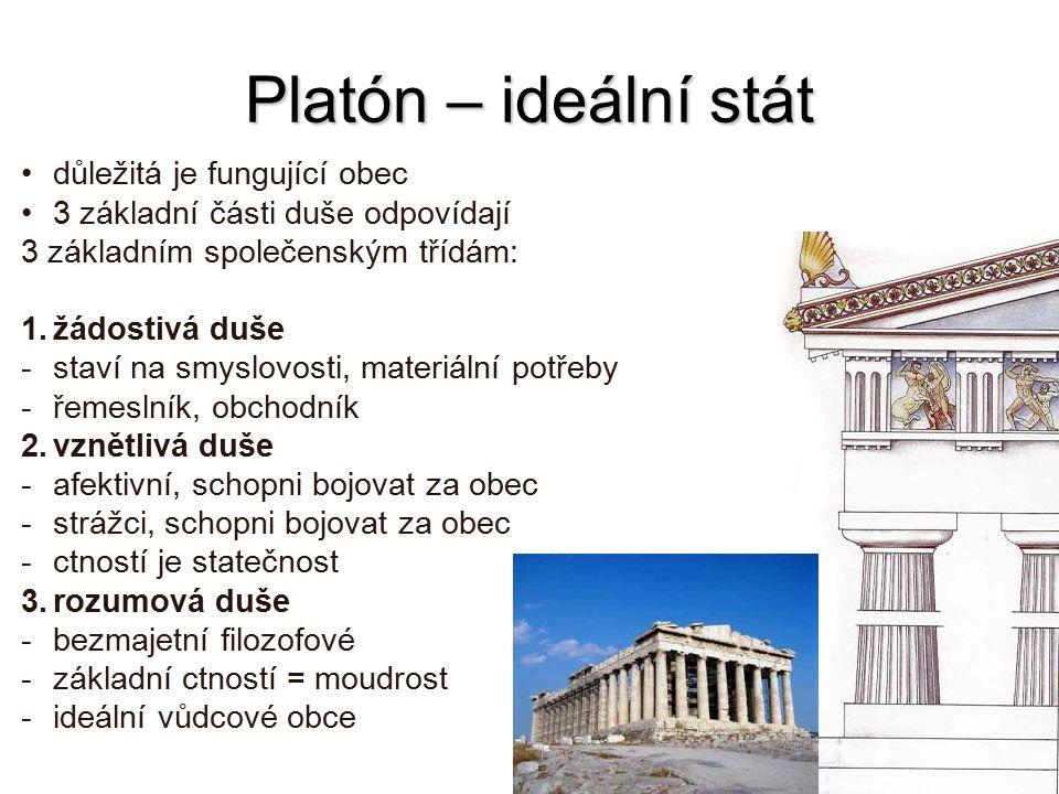 Platón – ideální stát důležitá je fungující obec 3 základní části duše odpovídají 3 základním společenským třídám: 1.žádostivá duše -staví na smyslovo