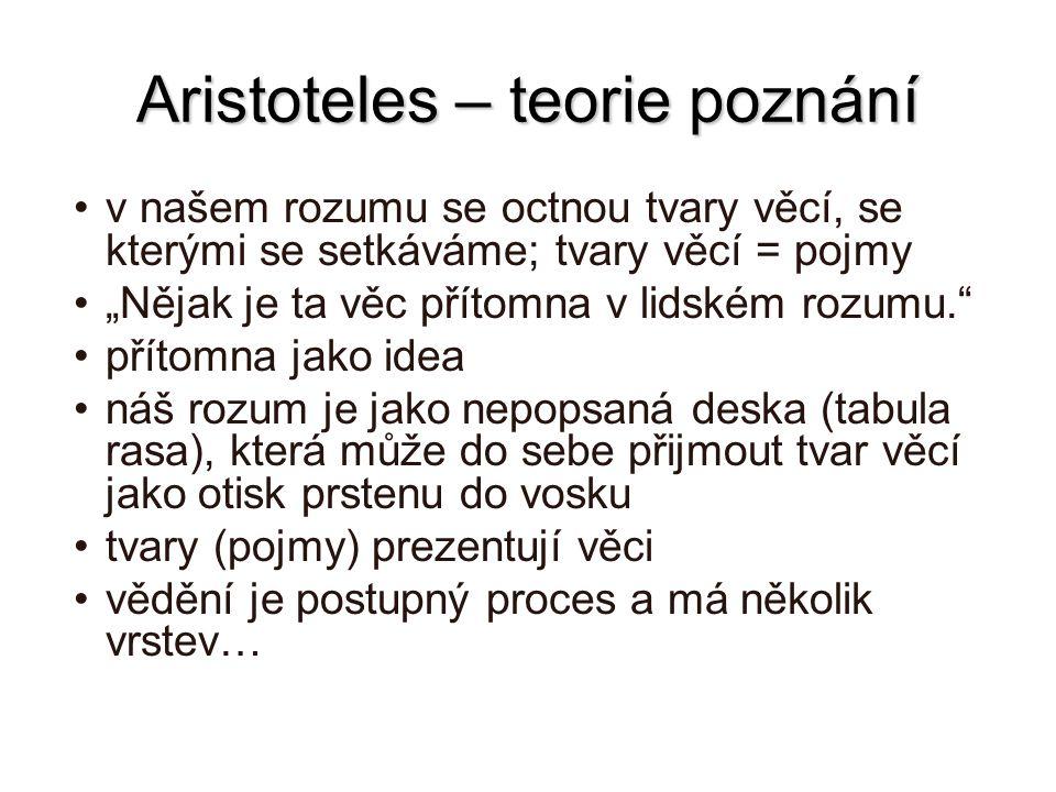 """Aristoteles – teorie poznání v našem rozumu se octnou tvary věcí, se kterými se setkáváme; tvary věcí = pojmy """"Nějak je ta věc přítomna v lidském rozu"""