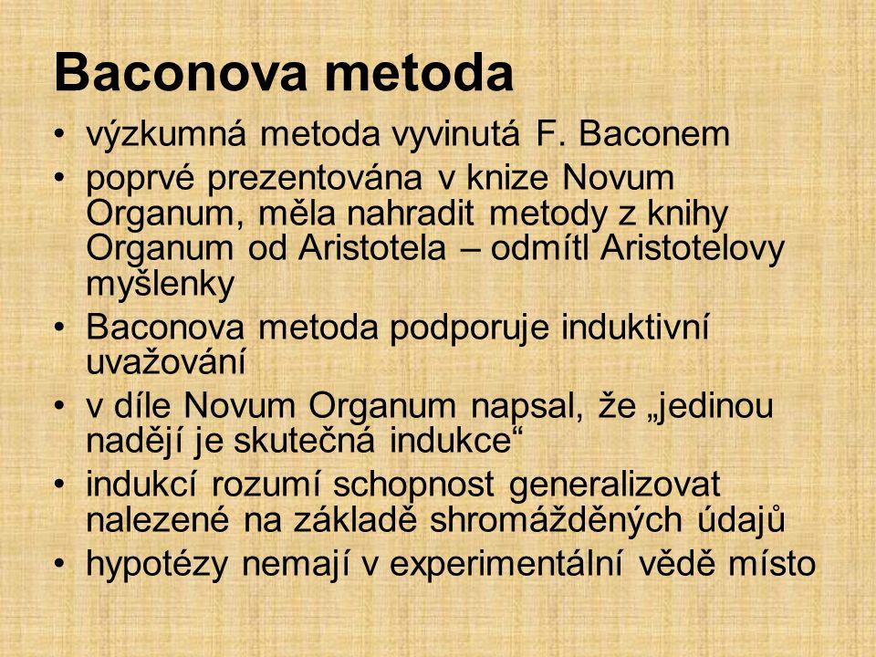 Baconova metoda výzkumná metoda vyvinutá F.