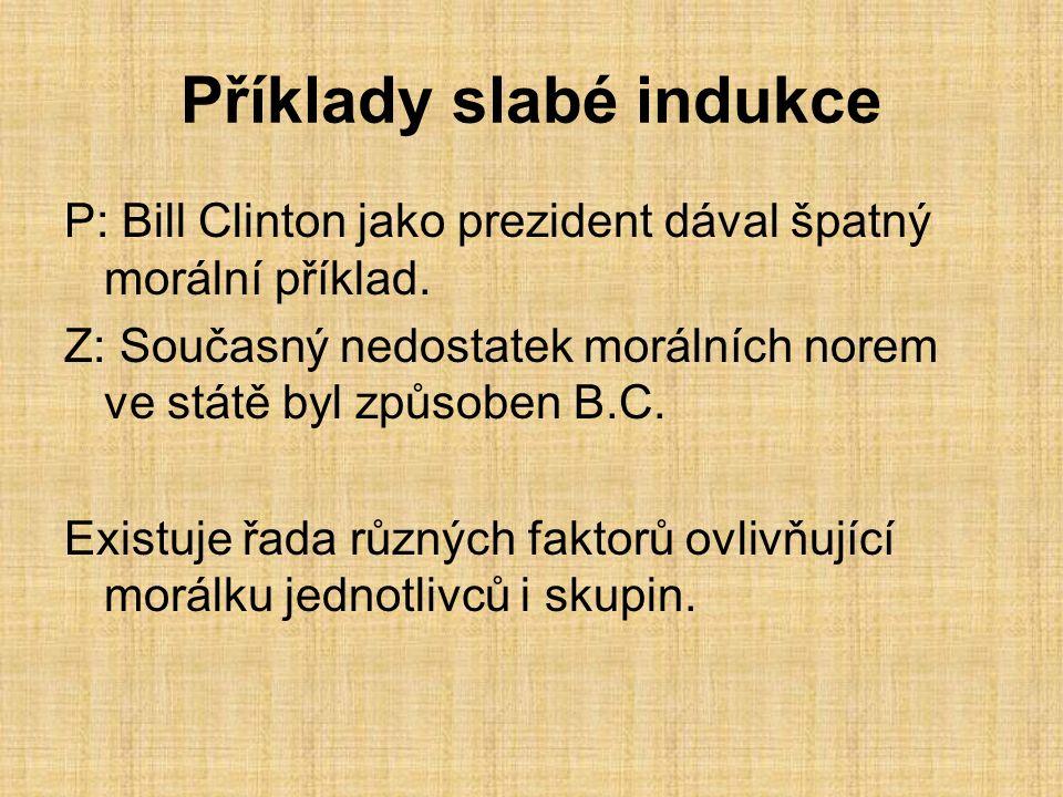 Příklady slabé indukce P: Bill Clinton jako prezident dával špatný morální příklad.