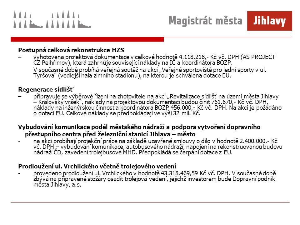 Postupná celková rekonstrukce HZS –vyhotovena projektová dokumentace v celkové hodnotě 4.118.216,- Kč vč.