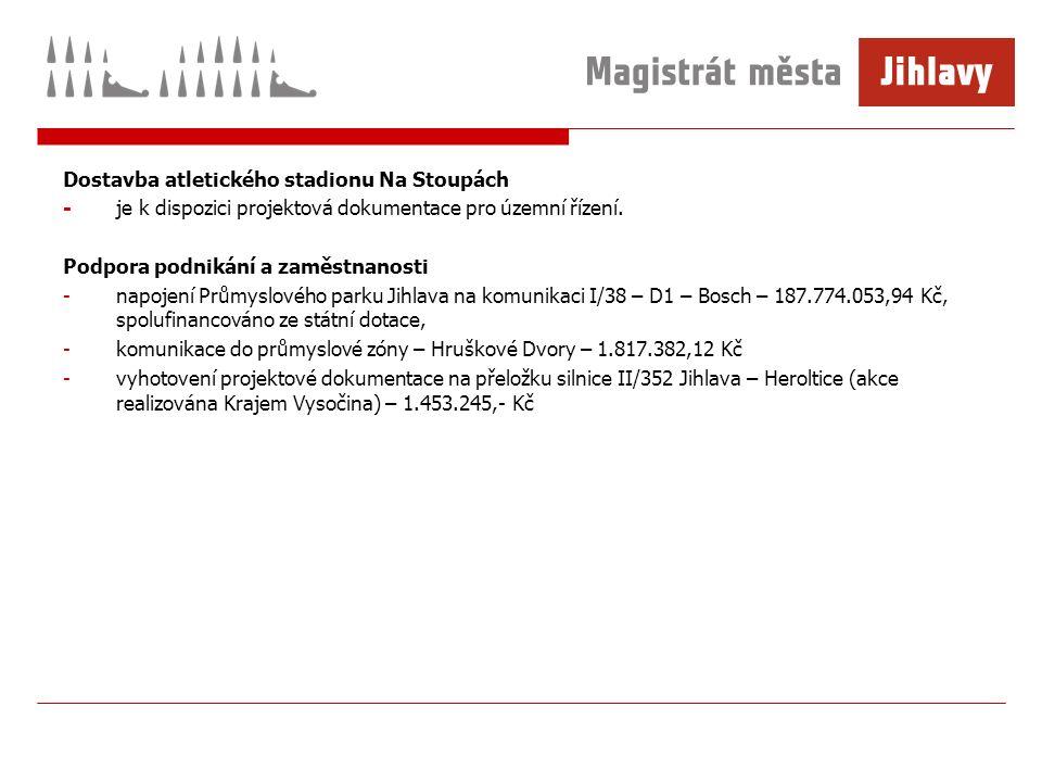 Dostavba atletického stadionu Na Stoupách -je k dispozici projektová dokumentace pro územní řízení.