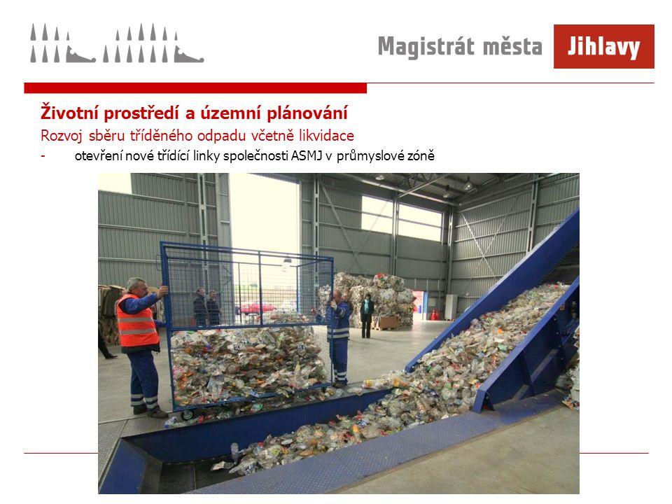 Životní prostředí a územní plánování Rozvoj sběru tříděného odpadu včetně likvidace -otevření nové třídící linky společnosti ASMJ v průmyslové zóně