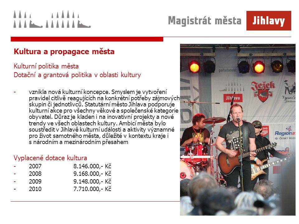 Kultura a propagace města Kulturní politika města Dotační a grantová politika v oblasti kultury -vznikla nová kulturní koncepce.