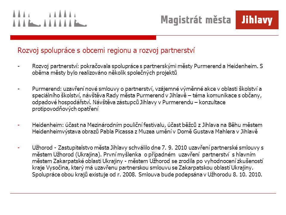 Rozvoj spolupráce s obcemi regionu a rozvoj partnerství -Rozvoj partnerství: pokračovala spolupráce s partnerskými městy Purmerend a Heidenheim.