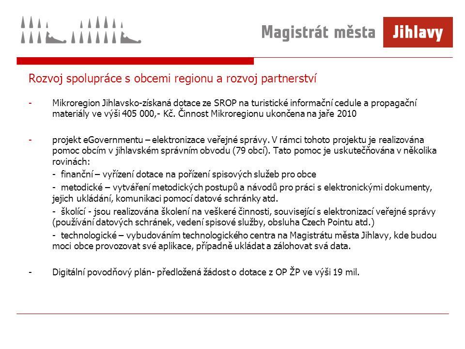 Rozvoj spolupráce s obcemi regionu a rozvoj partnerství -Mikroregion Jihlavsko-získaná dotace ze SROP na turistické informační cedule a propagační materiály ve výši 405 000,- Kč.