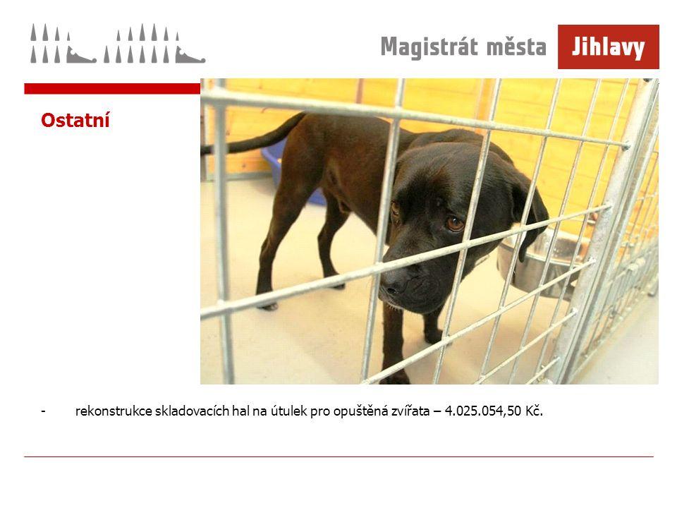 Ostatní -rekonstrukce skladovacích hal na útulek pro opuštěná zvířata – 4.025.054,50 Kč.