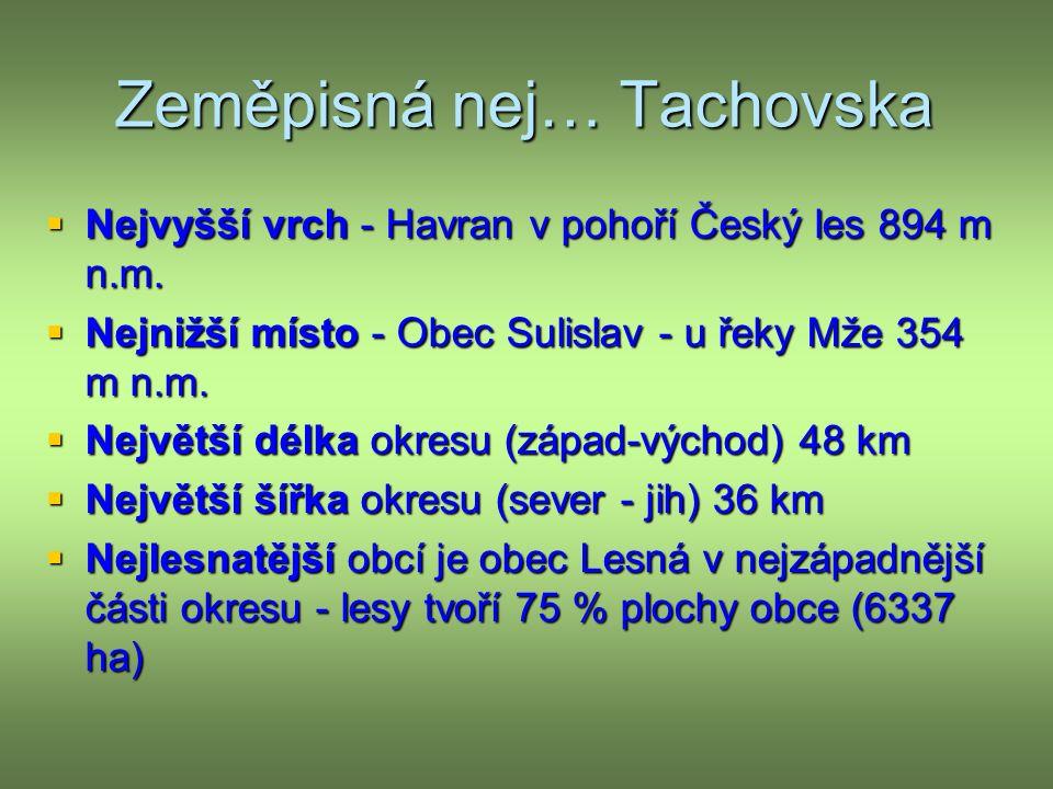 Zeměpisná nej… Tachovska  Nejvyšší vrch - Havran v pohoří Český les 894 m n.m.