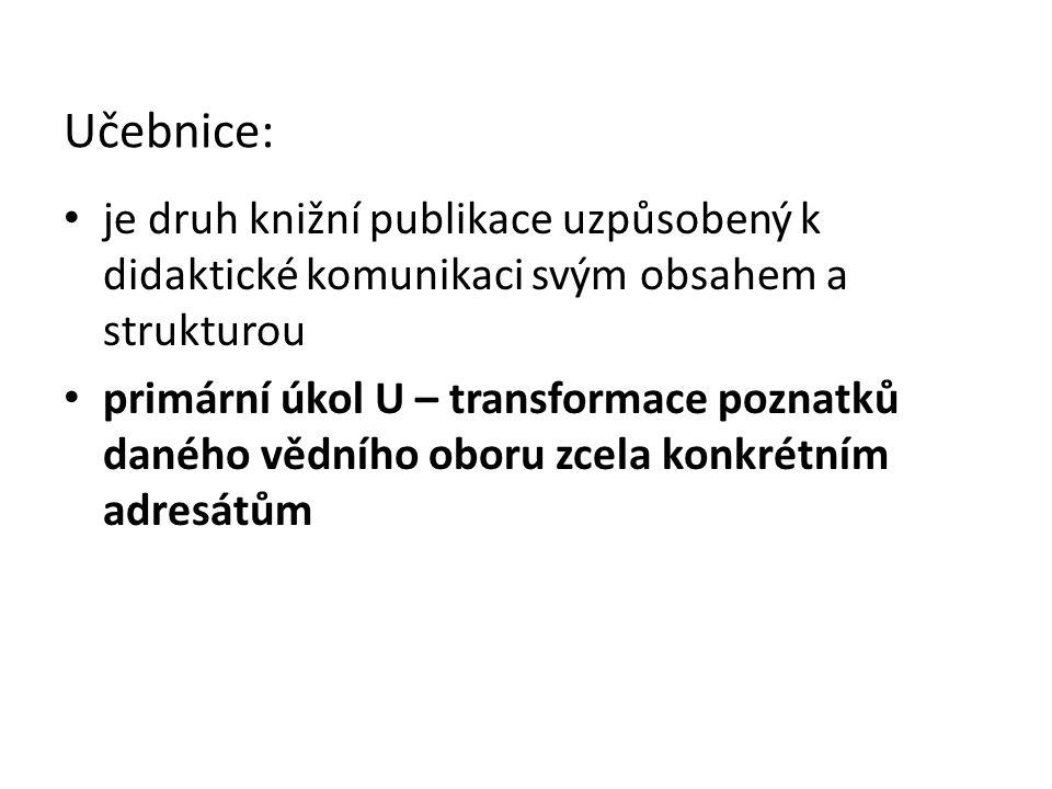 Učebnice: je druh knižní publikace uzpůsobený k didaktické komunikaci svým obsahem a strukturou primární úkol U – transformace poznatků daného vědního oboru zcela konkrétním adresátům