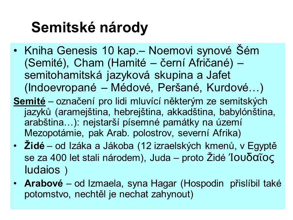 Semitské národy Kniha Genesis 10 kap.– Noemovi synové Šém (Semité), Cham (Hamité – černí Afričané) – semitohamitská jazyková skupina a Jafet (Indoevro