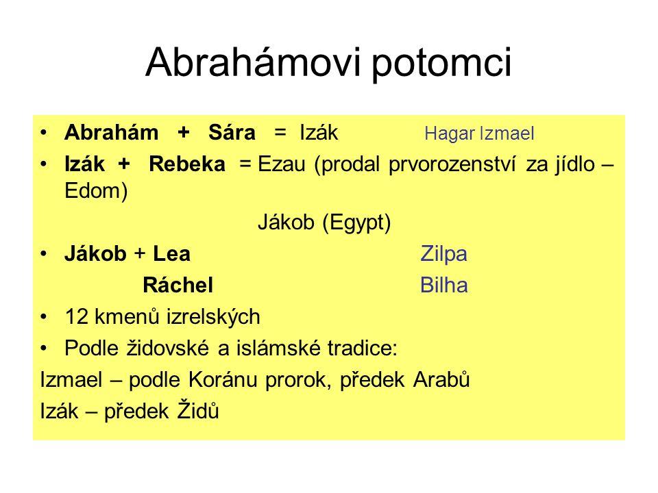 Abrahámovi potomci Abrahám + Sára = Izák Hagar Izmael Izák + Rebeka = Ezau (prodal prvorozenství za jídlo – Edom) Jákob (Egypt) Jákob + Lea Zilpa Rách