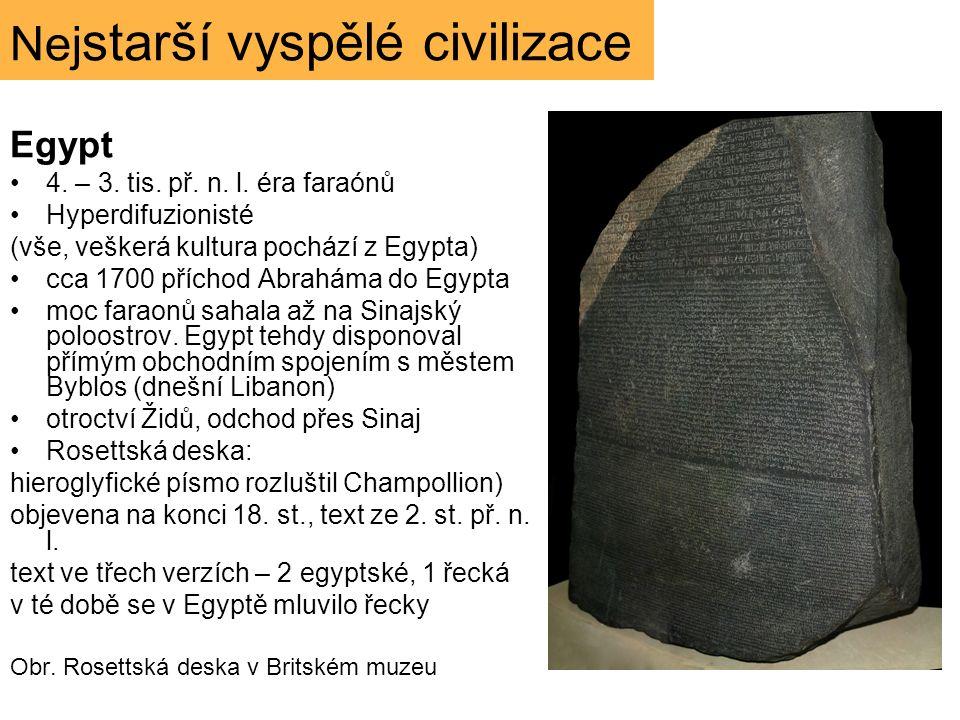 Nej starší vyspělé civilizace Egypt 4. – 3. tis. př. n. l. éra faraónů Hyperdifuzionisté (vše, veškerá kultura pochází z Egypta) cca 1700 příchod Abra