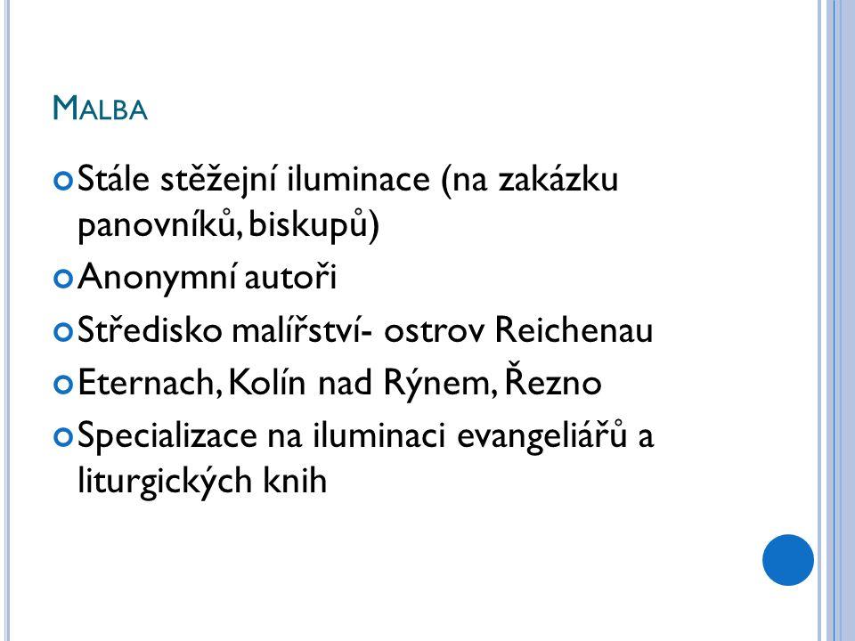 M ALBA Stále stěžejní iluminace (na zakázku panovníků, biskupů) Anonymní autoři Středisko malířství- ostrov Reichenau Eternach, Kolín nad Rýnem, Řezno