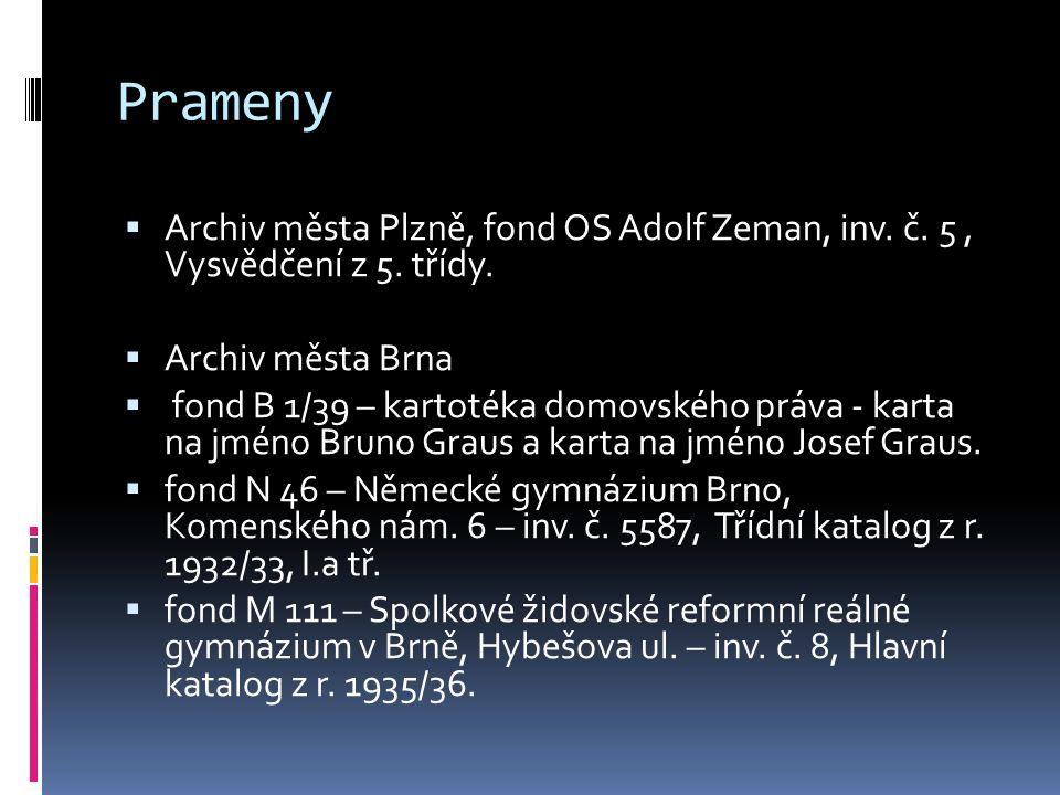 Prameny  Archiv města Plzně, fond OS Adolf Zeman, inv. č. 5, Vysvědčení z 5. třídy.  Archiv města Brna  fond B 1/39 – kartotéka domovského práva -