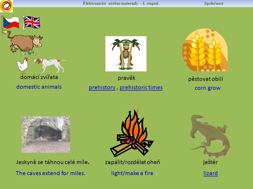 Elektronické učební materiály – I. stupeň Společnost domestic animals domácí zvířata prehistoryprehistory, prehistoric timesprehistorictimes pravěk Th