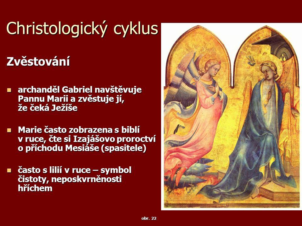 Christologický cyklus Zvěstování archanděl Gabriel navštěvuje Pannu Marii a zvěstuje jí, že čeká Ježíše archanděl Gabriel navštěvuje Pannu Marii a zvě