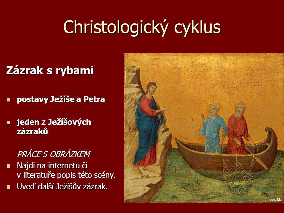 Christologický cyklus Zázrak s rybami postavy Ježíše a Petra postavy Ježíše a Petra jeden z Ježíšových zázraků jeden z Ježíšových zázraků PRÁCE S OBRÁ