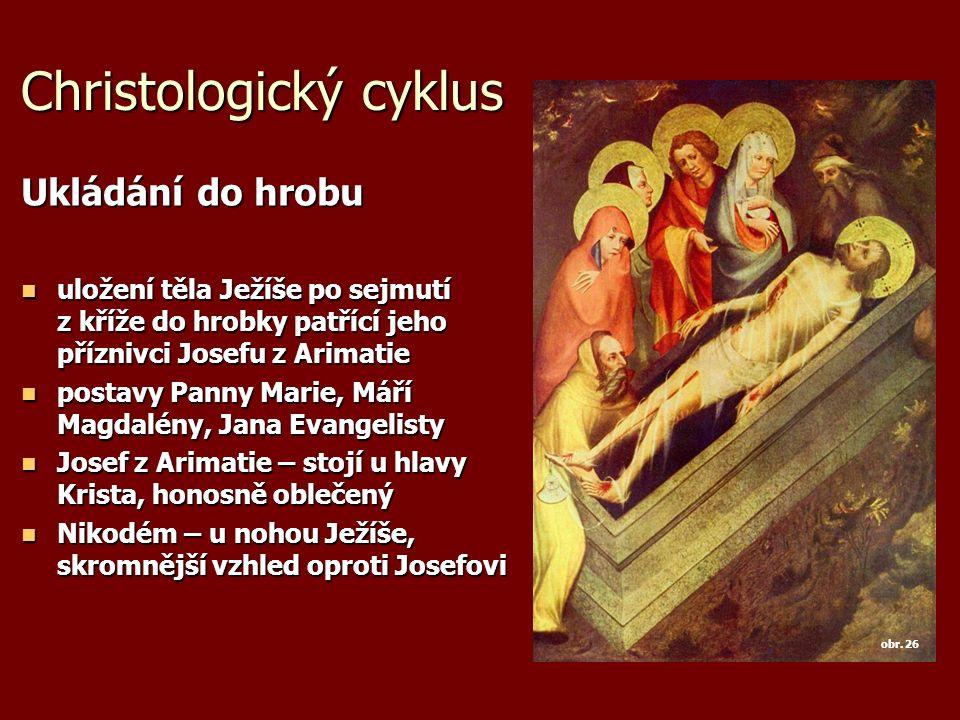 Christologický cyklus Ukládání do hrobu uložení těla Ježíše po sejmutí z kříže do hrobky patřící jeho příznivci Josefu z Arimatie uložení těla Ježíše