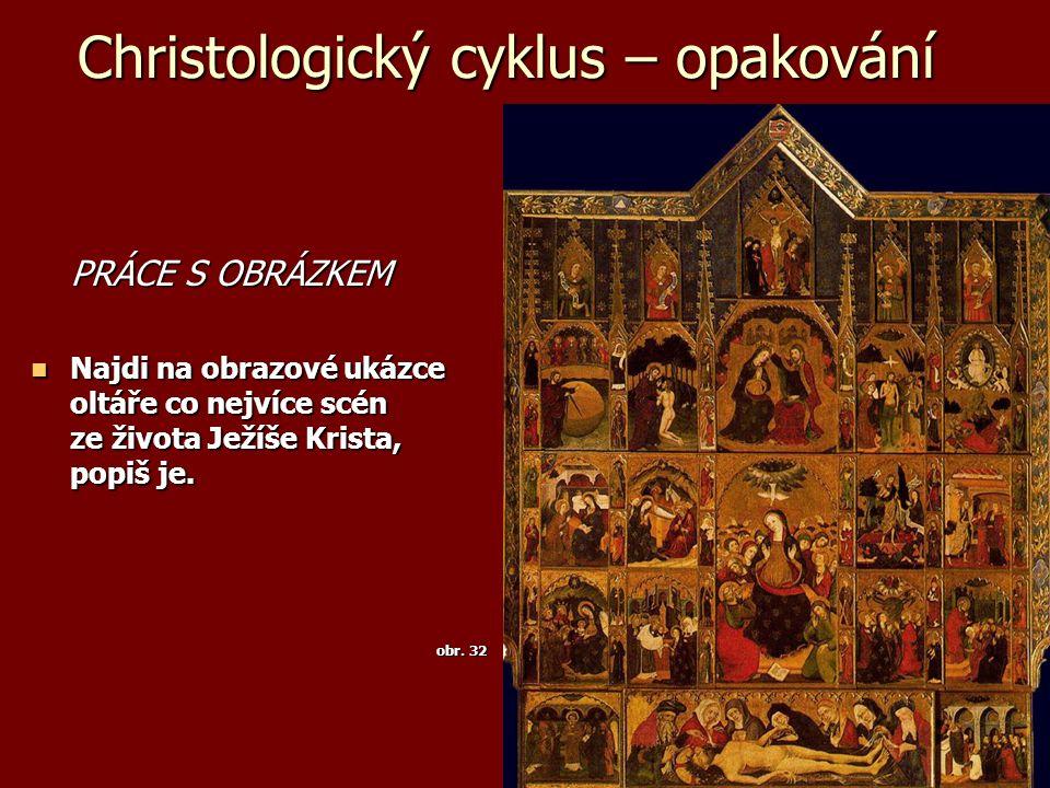 Christologický cyklus – opakování PRÁCE S OBRÁZKEM Najdi na obrazové ukázce oltáře co nejvíce scén ze života Ježíše Krista, popiš je. Najdi na obrazov