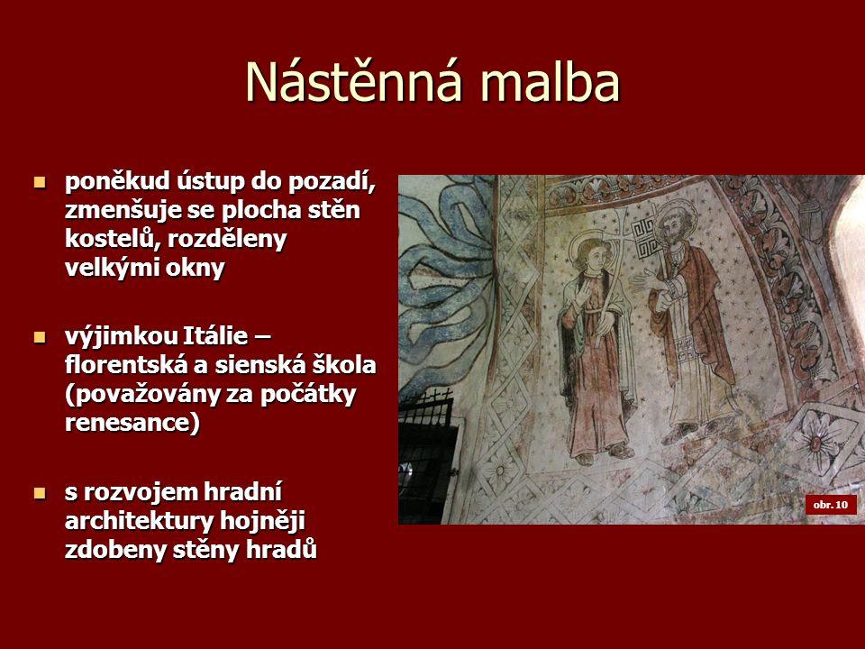 Nástěnná malba poněkud ústup do pozadí, zmenšuje se plocha stěn kostelů, rozděleny velkými okny poněkud ústup do pozadí, zmenšuje se plocha stěn koste