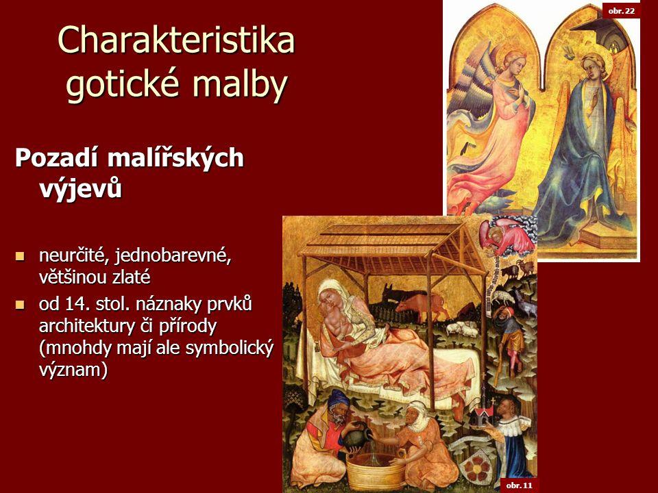 Charakteristika gotické malby Zobrazovaná témata Náboženská stále důležitý christologický cyklus stále důležitý christologický cyklus Kristus zobrazován více jako mučedník, zdůrazněna jeho oběť Kristus zobrazován více jako mučedník, zdůrazněna jeho oběť do popředí tematika Panny Marie, velká obliba madon do popředí tematika Panny Marie, velká obliba madon roste také zobrazování důležitých světců roste také zobrazování důležitých světcůSvětská převažují v nástěnné a knižní malbě převažují v nástěnné a knižní malbě výjevy z dvorského prostředí výjevy z dvorského prostředí