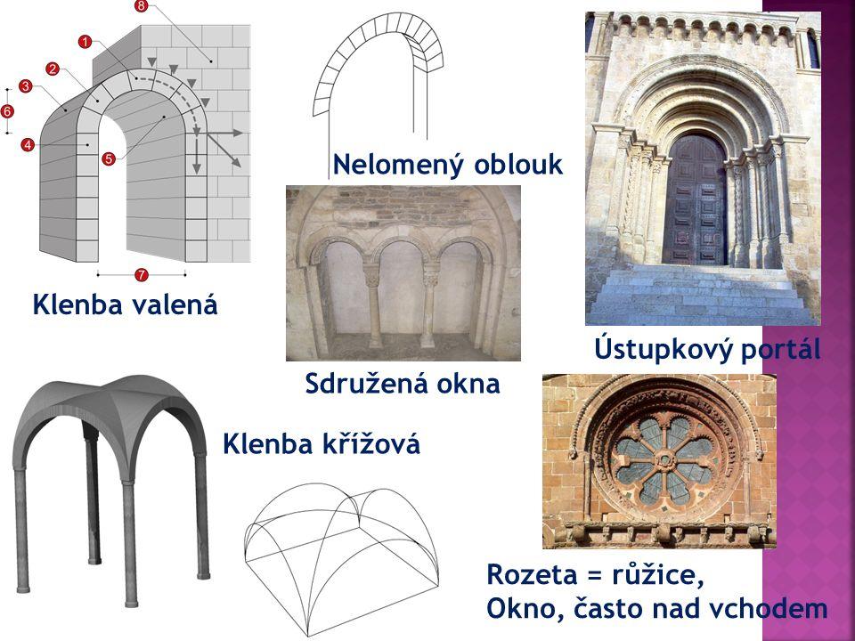 Klenba valená Klenba křížová Ústupkový portál Nelomený oblouk Rozeta = růžice, Okno, často nad vchodem Sdružená okna