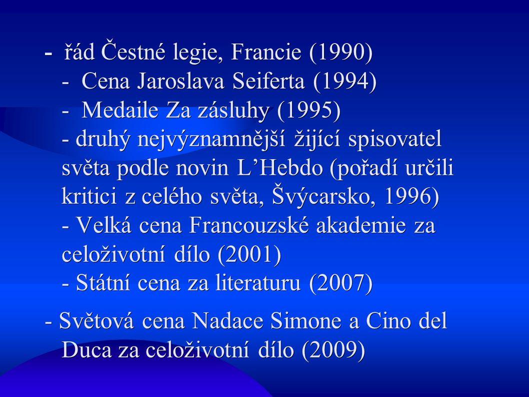 - řád Čestné legie, Francie (1990) - Cena Jaroslava Seiferta (1994) - Medaile Za zásluhy (1995) - druhý nejvýznamnější žijící spisovatel světa podle novin L'Hebdo (pořadí určili kritici z celého světa, Švýcarsko, 1996) - Velká cena Francouzské akademie za celoživotní dílo (2001) - Státní cena za literaturu (2007) - Světová cena Nadace Simone a Cino del Duca za celoživotní dílo (2009)