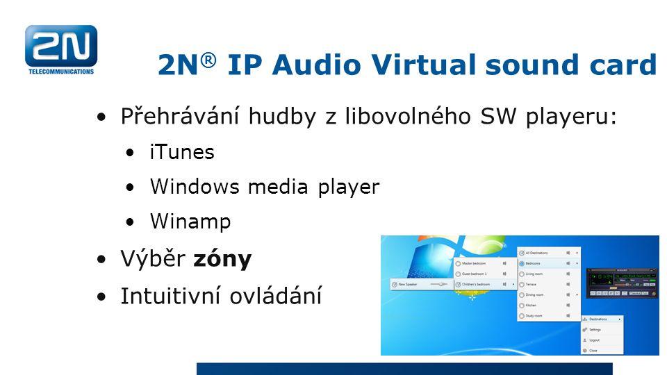 Přehrávání hudby z libovolného SW playeru: iTunes Windows media player Winamp Výběr zóny Intuitivní ovládání 2N ® IP Audio Virtual sound card