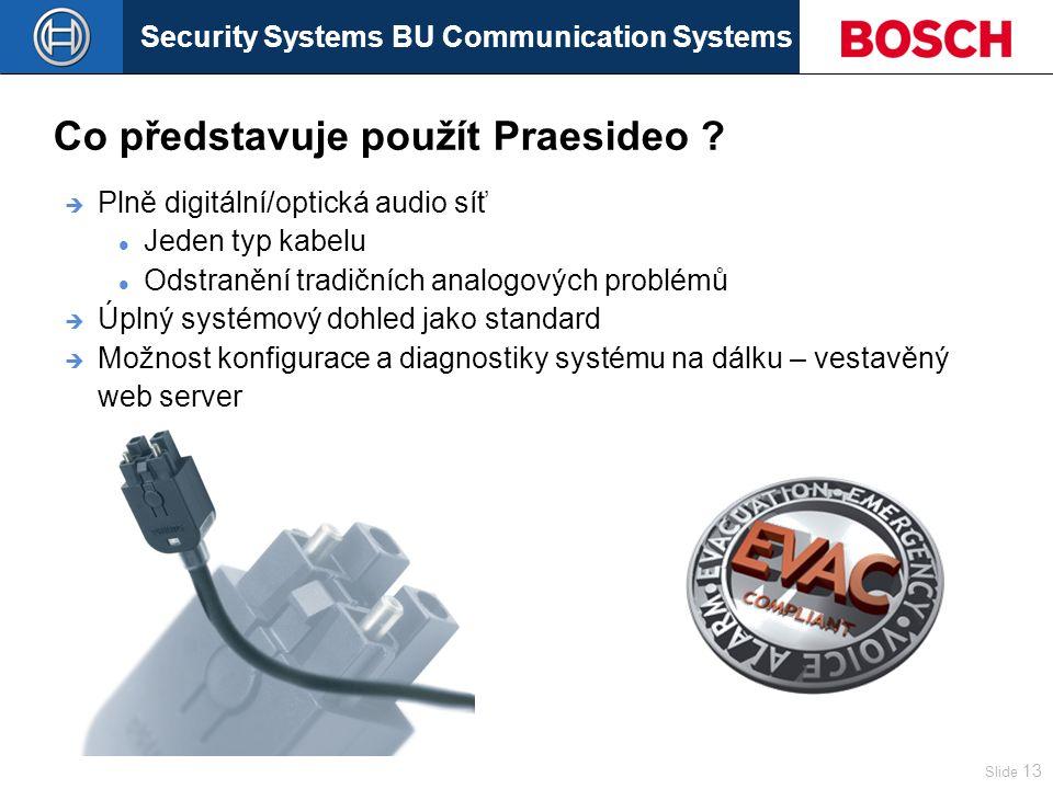 Security Systems BU Communication Systems Slide 13  Plně digitální/optická audio síť Jeden typ kabelu Odstranění tradičních analogových problémů  Úplný systémový dohled jako standard  Možnost konfigurace a diagnostiky systému na dálku – vestavěný web server Co představuje použít Praesideo