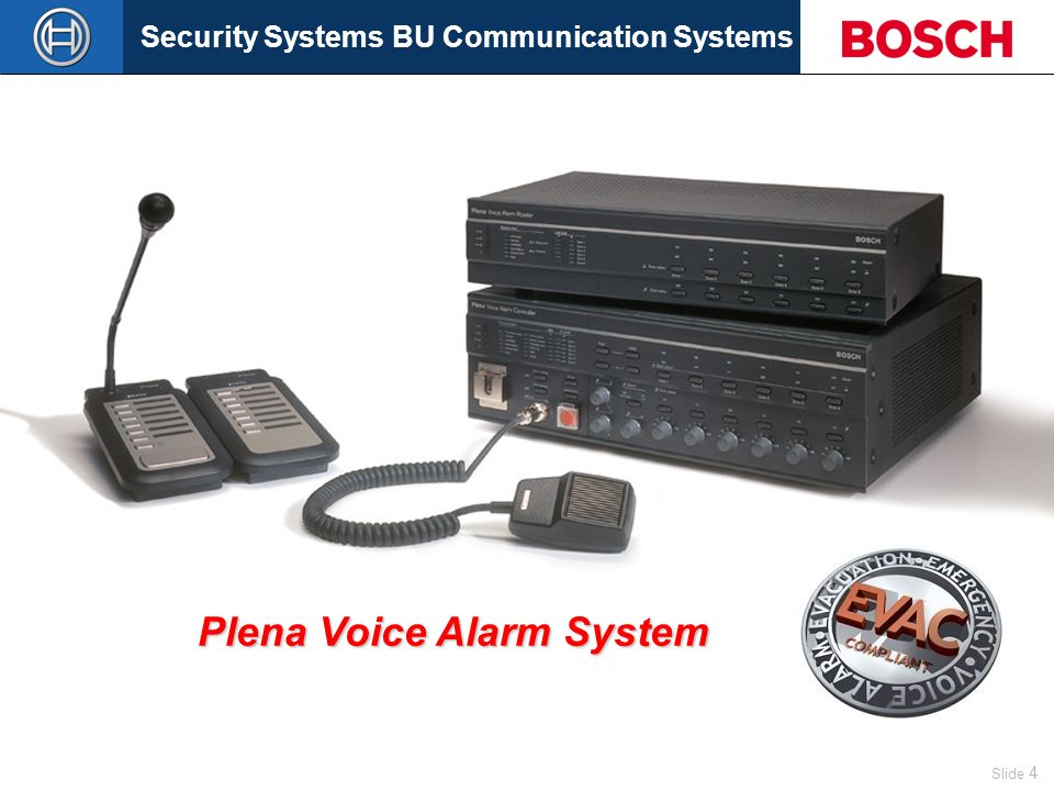 Security Systems BU Communication Systems Slide 4 Now Plena also brings The ease of amplification to the Voice Alarm market with the new Plena Voice Alarm System