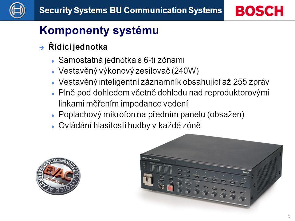 Security Systems BU Communication Systems Slide 5 Komponenty systému Samostatná jednotka s 6-ti zónami Vestavěný výkonový zesilovač (240W) Vestavěný inteligentní záznamník obsahující až 255 zpráv Plně pod dohledem včetně dohledu nad reproduktorovými linkami měřením impedance vedení Poplachový mikrofon na předním panelu (obsažen) Ovládání hlasitosti hudby v každé zóně  Řídicí jednotka