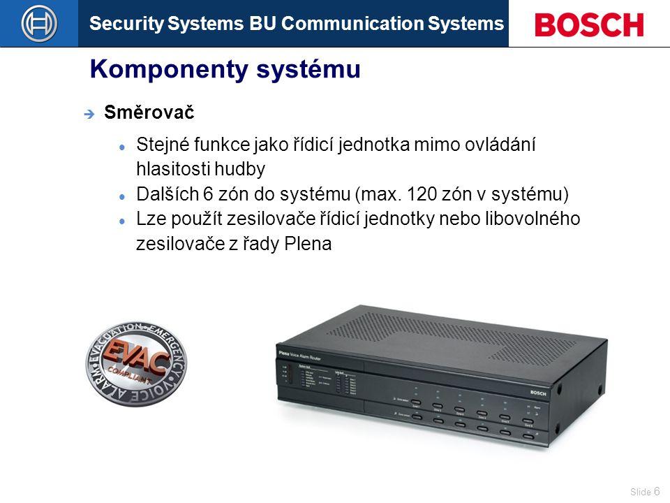 Security Systems BU Communication Systems Slide 6 Komponenty systému Stejné funkce jako řídicí jednotka mimo ovládání hlasitosti hudby Dalších 6 zón do systému (max.