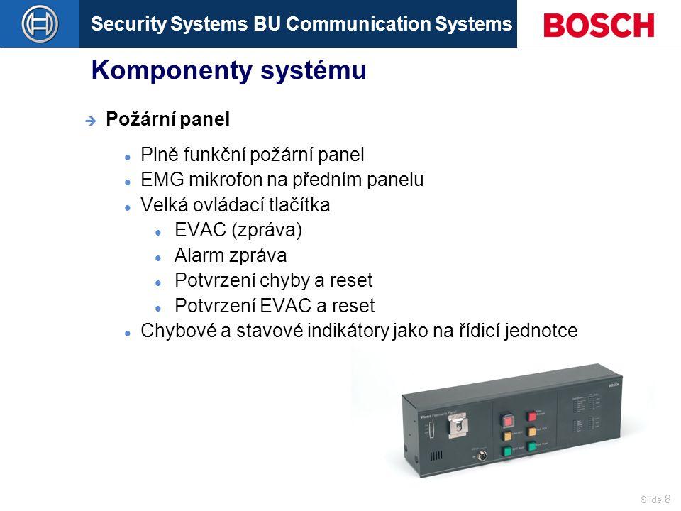 Security Systems BU Communication Systems Slide 9 Komponenty systému Chybové a stavové indikátory Tlačítko testu indikátorů Tlačítka pro výběr zón EMG mikrofon na předním panelu  Panel dálkového ovládání