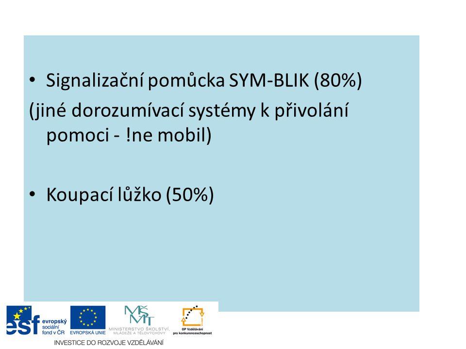 Signalizační pomůcka SYM-BLIK (80%) (jiné dorozumívací systémy k přivolání pomoci - !ne mobil) Koupací lůžko (50%)