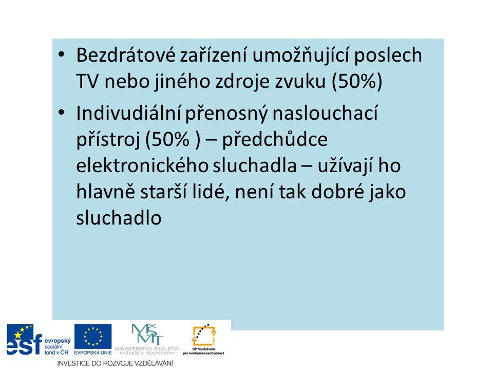 Bezdrátové zařízení umožňující poslech TV nebo jiného zdroje zvuku (50%) Indivudiální přenosný naslouchací přístroj (50% ) – předchůdce elektronického sluchadla – užívají ho hlavně starší lidé, není tak dobré jako sluchadlo