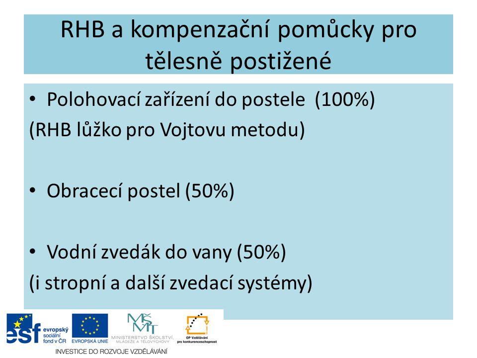 RHB a kompenzační pomůcky pro tělesně postižené Polohovací zařízení do postele (100%) (RHB lůžko pro Vojtovu metodu) Obracecí postel (50%) Vodní zvedák do vany (50%) (i stropní a další zvedací systémy)