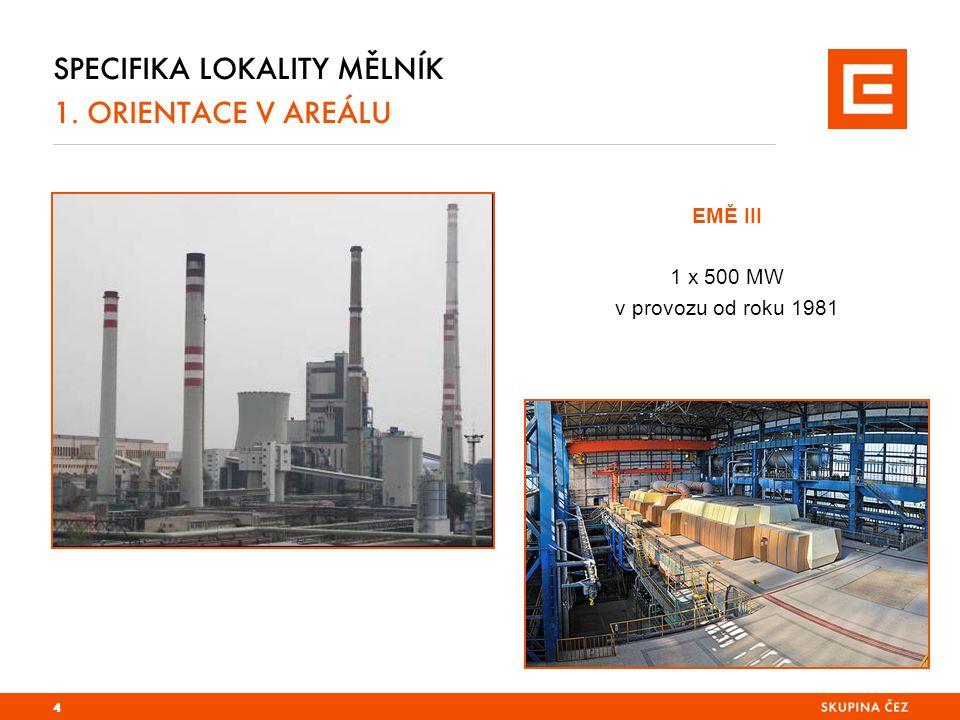 SPECIFIKA LOKALITY MĚLNÍK 1. ORIENTACE V AREÁLU 4 EMĚ III 1 x 500 MW v provozu od roku 1981
