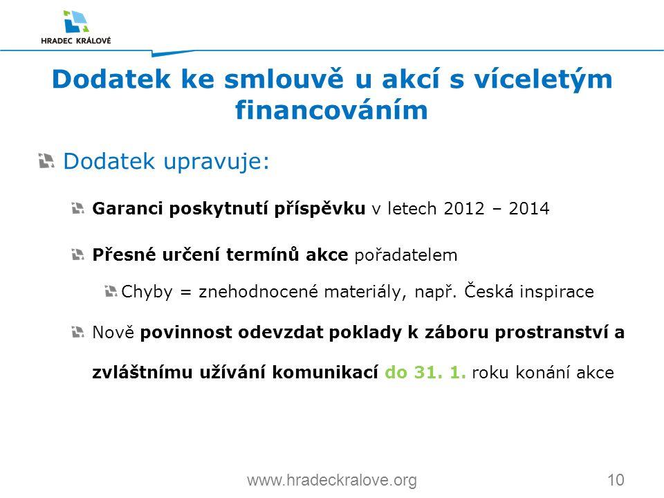10www.hradeckralove.org Dodatek upravuje: Garanci poskytnutí příspěvku v letech 2012 – 2014 Přesné určení termínů akce pořadatelem Chyby = znehodnocen