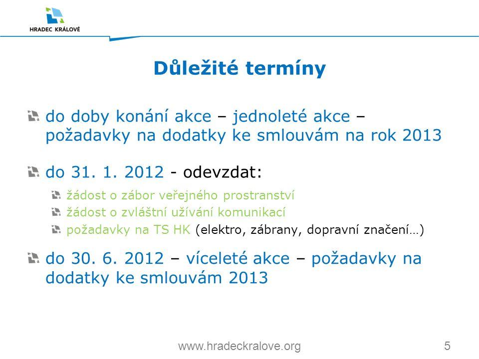 5www.hradeckralove.org do doby konání akce – jednoleté akce – požadavky na dodatky ke smlouvám na rok 2013 do 31. 1. 2012 - odevzdat: žádost o zábor v