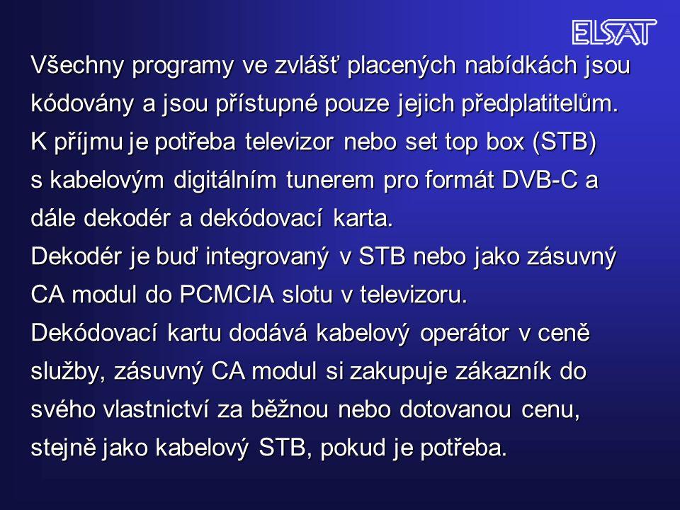 Všechny programy ve zvlášť placených nabídkách jsou kódovány a jsou přístupné pouze jejich předplatitelům.