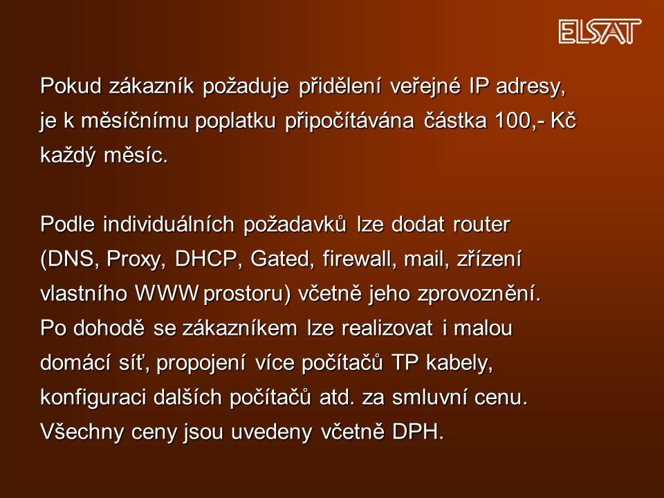 Pokud zákazník požaduje přidělení veřejné IP adresy, je k měsíčnímu poplatku připočítávána částka 100,- Kč každý měsíc.