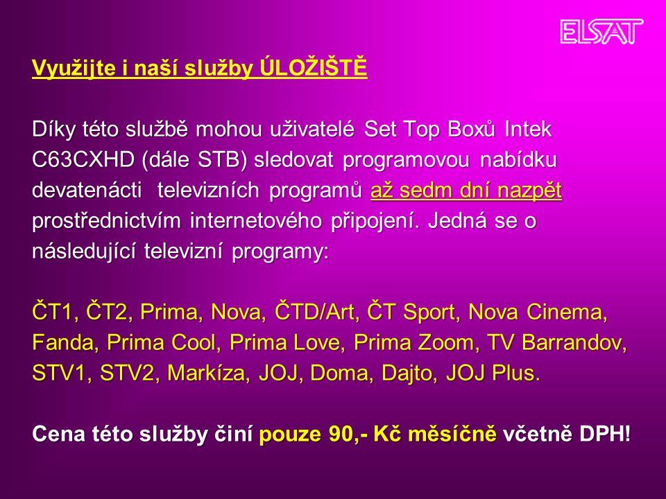 Díky této službě mohou uživatelé Set Top Boxů Intek C63CXHD (dále STB) sledovat programovou nabídku devatenácti televizních programů až sedm dní nazpět prostřednictvím internetového připojení.