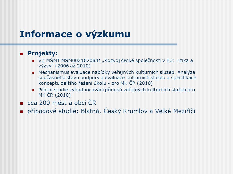 """Informace o výzkumu Projekty: VZ MŠMT MSM0021620841 """"Rozvoj české společnosti v EU: rizika a výzvy (2006 až 2010) Mechanismus evaluace nabídky veřejných kulturních služeb."""