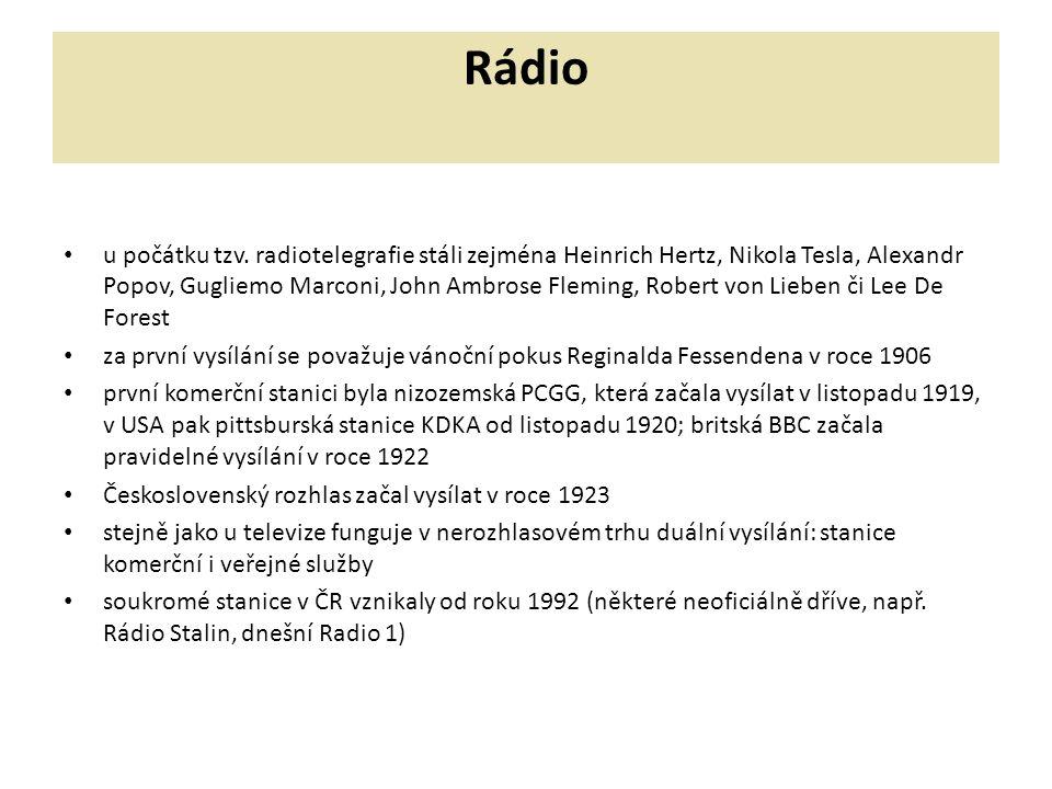 Rádio u počátku tzv. radiotelegrafie stáli zejména Heinrich Hertz, Nikola Tesla, Alexandr Popov, Gugliemo Marconi, John Ambrose Fleming, Robert von Li