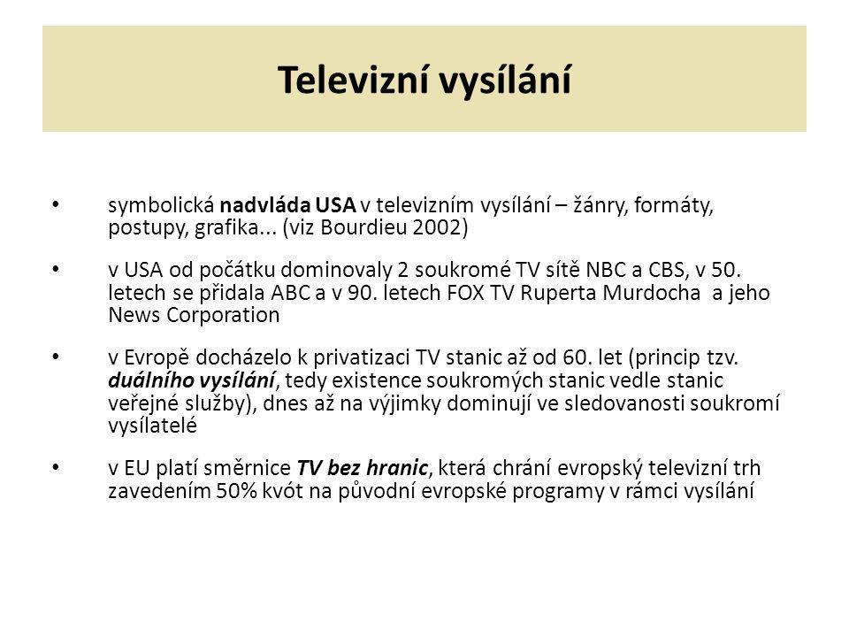 Televizní vysílání symbolická nadvláda USA v televizním vysílání – žánry, formáty, postupy, grafika...