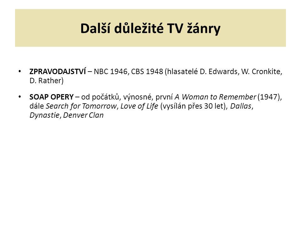 Další důležité TV žánry ZPRAVODAJSTVÍ – NBC 1946, CBS 1948 (hlasatelé D.